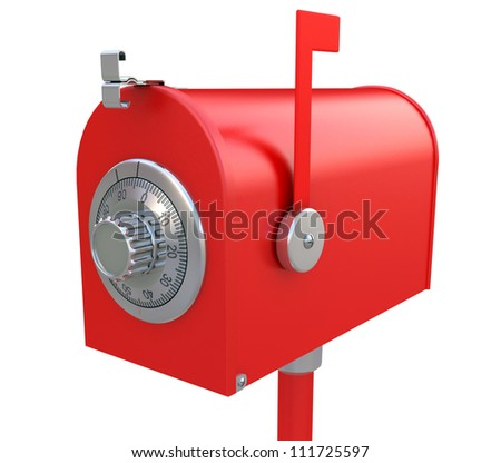 Security of mailbox. Steel mailbox with combination lock. - stock photo