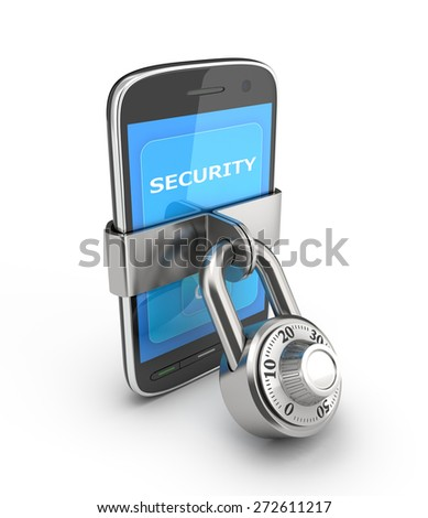 Security of mobile devices. Smartphone closed on the lock. 3D render on a white background. - stock photo