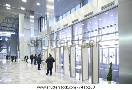security officers at the entrance - stock photo