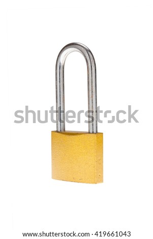 Security old metal padlock isolated on white background - stock photo