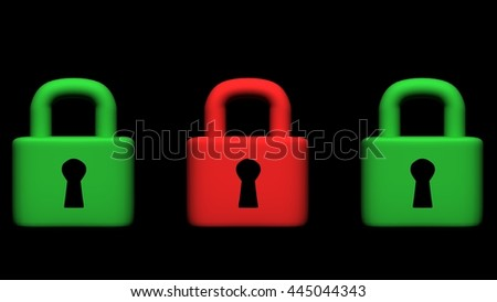 Security padlock on black background, 3D illustration - stock photo