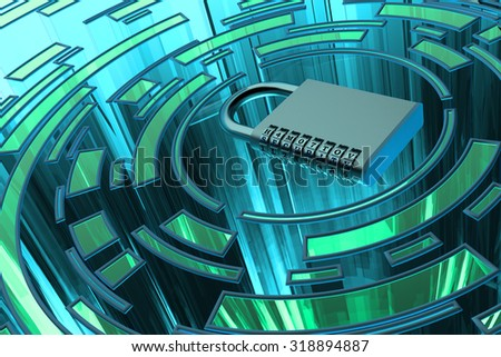 Security, privacy, protection and safety data access concept, metallic combination code lock on blue abstract technology background - stock photo
