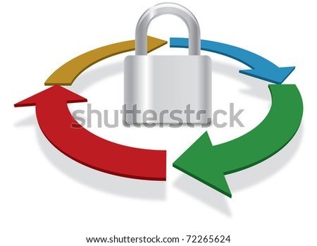 Security process concept in business and technology - stock photo