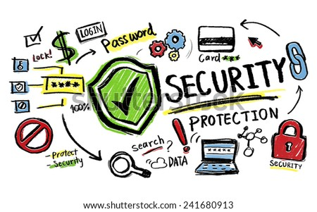Security Protection Lock Network Firewall Concept - stock photo