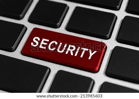 security red button on keyboard, business concept - stock photo