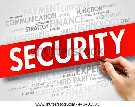 Security related items words cloud, business concept - stock photo