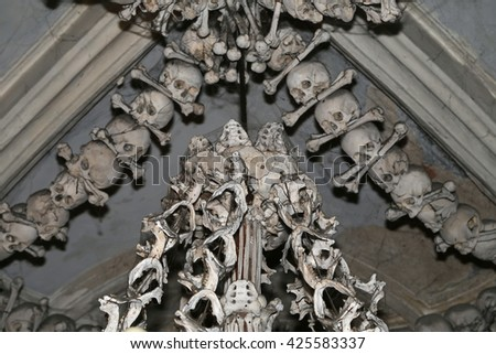 Sedlec Ossuary is a small Roman Catholic chapel, located beneath the Cemetery Church of All Saints in Sedlec, a suburb of Kutna Hora in the Czech Republic. - stock photo