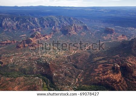 Sedona, Arizona Aerial - stock photo