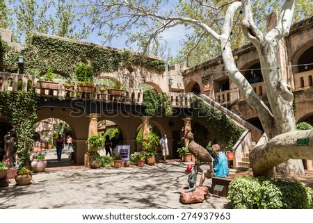 Sedona, Arizona - April 12 : Outdoor architecture at the Tlaquepaque Arts & Crafts Village , April 12 2015 in Sedona, Arizona. - stock photo