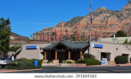 SEDONA, AZ, USA - FEB 24, 2016:  BMO Harris Bank, W State Route 89a, a US subsidiary of Canadian Bank of Montreal with over 600 branches in the US. - stock photo