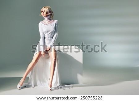 Seductive blonde beauty - stock photo