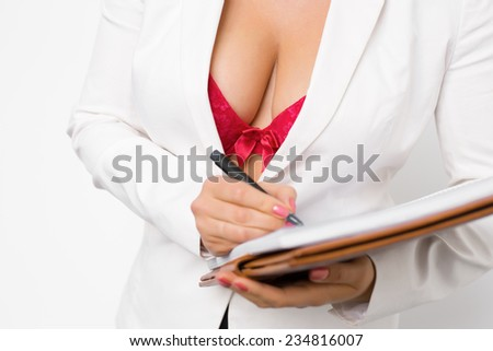 Seductive secretary - stock photo