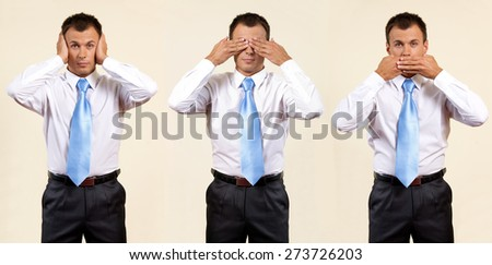 see, hear, speak no evil - stock photo