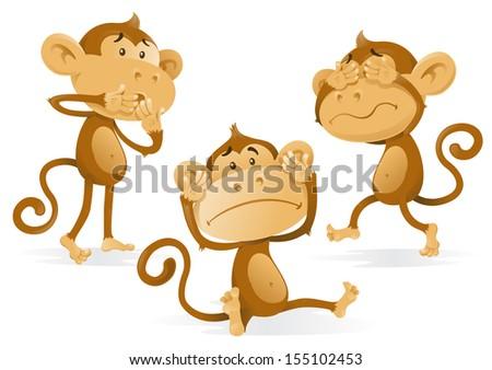 See Hear Speak No Evil Monkeys. - stock photo