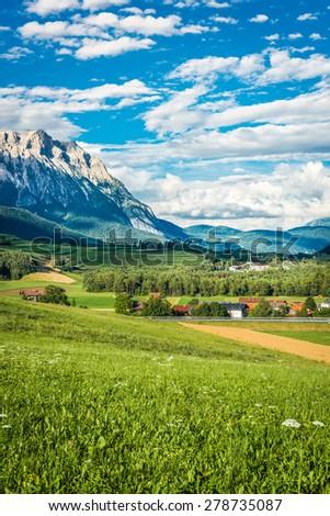 See municipality landscapes in Sonnenplateau, western Innsbruck, Austria - stock photo
