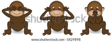See no evil,hear no evil,speak no evil monkey. - stock photo