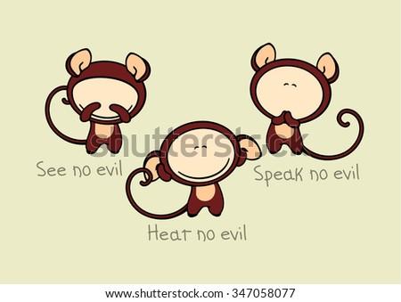 See no evil, hear no evil, speak no evil (raster version) - stock photo
