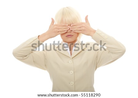 See no evil , isolated on white background - stock photo
