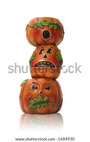 See No, Hear No, Speak No Evil pumpkins - stock photo