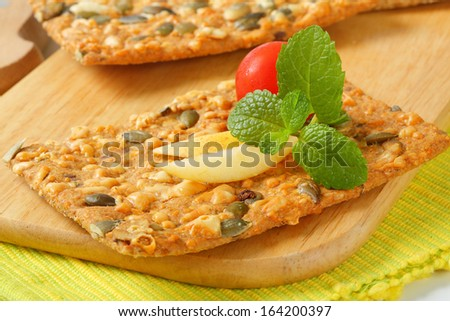 seed crispy bread with tomato and apple - stock photo