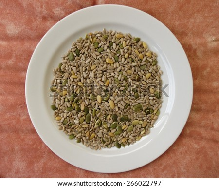 Seed mixture of Pumpkin, sunflower and sesame seeds - stock photo