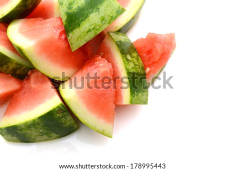 Seedless ripe watermelon cut differently slices  - stock photo