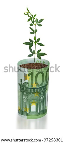 seedling growing from euro bill - stock photo