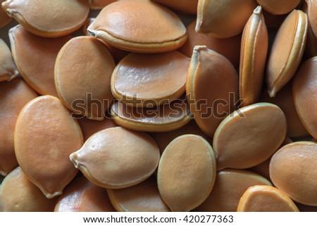seeds of pumpkin, pumpkin seeds, food background, seeds photo, seeds macro, dry seeds - stock photo