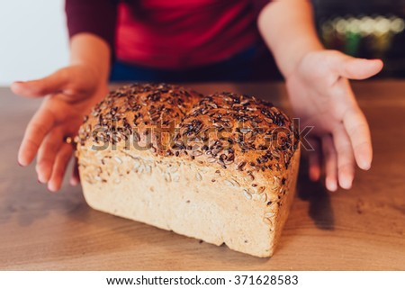 Seeds square bread, for sale  - stock photo