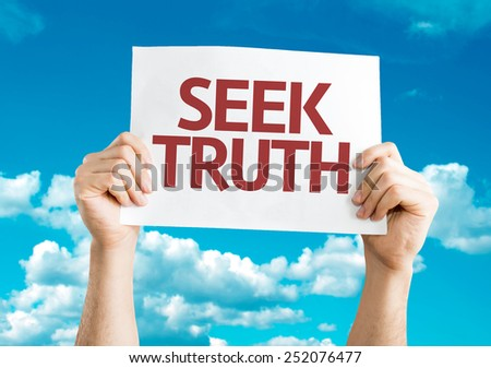 Seek Truth card with sky background - stock photo