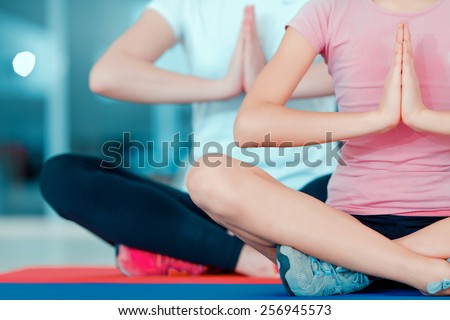 Seeking nirvana. Cropped image of beautiful teenage girl and her mother in sports clothing training yoga on the mat in sports club - stock photo