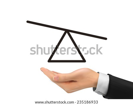 seesaw diagram holding by realistic hand over white background - stock photo