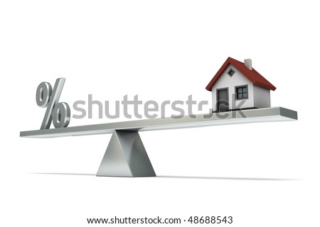 seesaw with percent symbol and a house, isolated on white background - stock photo