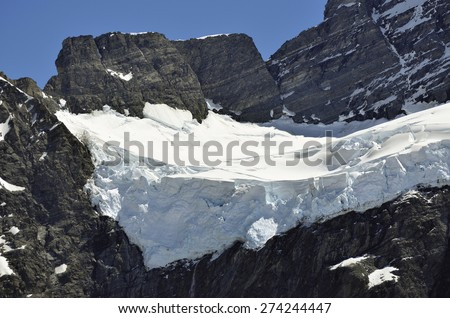 Sefton mountain dangerous ice slope in Southern Alps, New Zealand . - stock photo