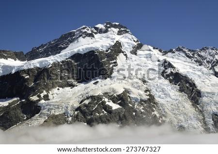 Sefton peak in Aoraki National park in NZ. - stock photo