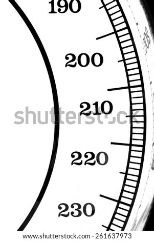 Segment of a scale with the numbers 190-230 - stock photo