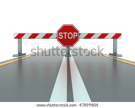 Segment of closed road with stop sign - stock photo