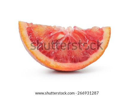segment of ripe blood red orange isolated on white background - stock photo