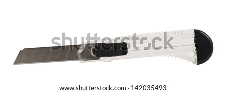 Segmented or snap-off blade utility box cutter knife with the razor taken out, isolated over white background - stock photo