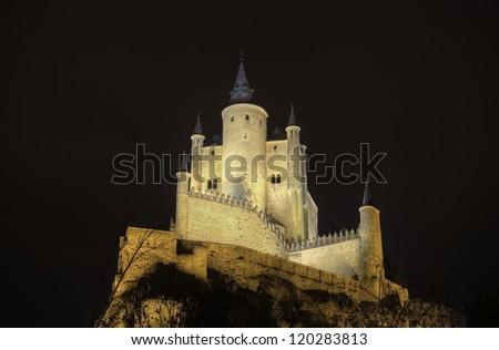 Segovia Alcazar Castle at night. Ancient Royal palace in Segovia Spain. - stock photo
