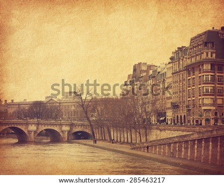 Seine,Paris, France.  Photo in retro style. Added paper texture. Toned image - stock photo