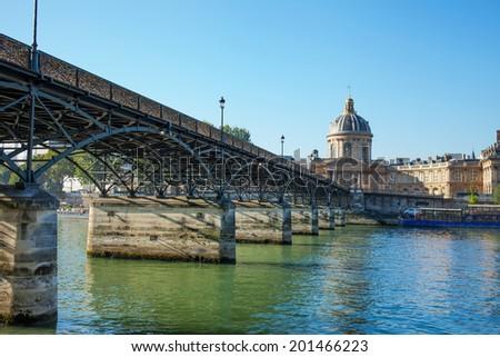 Seine river and bridge Pont des Arts, Paris, France. - stock photo