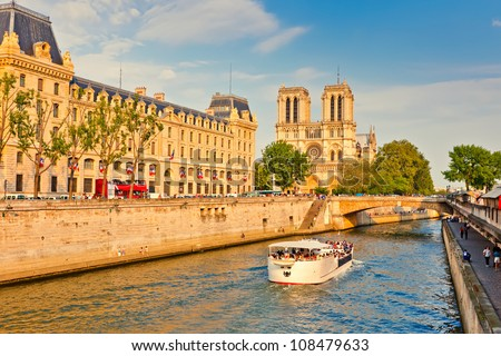 Seine river and Notre Dame cathedral, Paris - stock photo