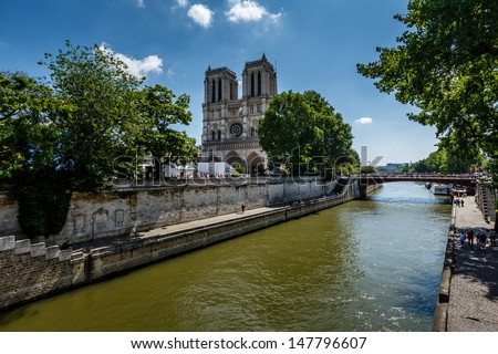 Seine River and Notre Dame de Paris Cathedral, Paris, France - stock photo