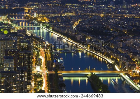 Seine river at night view from Eiffel Tower, Paris - stock photo