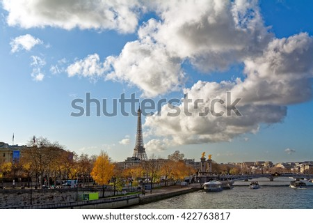Seine river in Paris, France in the sunny winter afternoon. - stock photo