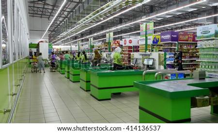 SELANGOR, MALAYSIA - 29 April, 2016: Payment counter inside hypermarket in Bangi, Selangor.  - stock photo