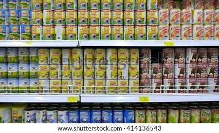 SELANGOR, MALAYSIA - 29 April, 2016: Rows of sweetened creamer inside hypermarket in Bangi, Selangor. - stock photo