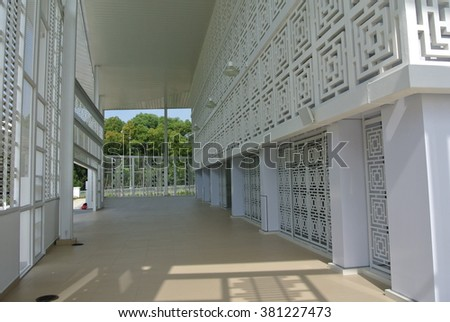 SELANGOR, MALAYSIA - JUNE 15, 2015: Ara Damansara Mosque at the Ara Damansara, Selangor, Malaysia. It is a modern design mosque and has gold medal award in the green technology index.  - stock photo