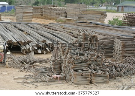 SELANGOR, MALAYSIA â?? SEPTEMBER 19, 2015: Hot rolled deformed steel bars a.k.a. steel reinforcement bar used at construction site as the reinforcement bar for reinforcement concrete.  - stock photo